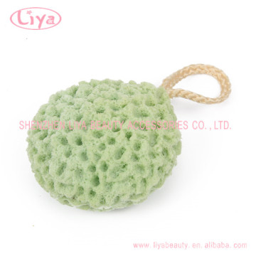 Latex free soft body bath sponge with rope