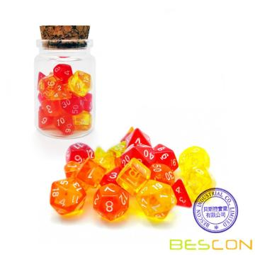 Bescon Mini Dice Gem Set 21pcs -21 Gem Mini Polyhedral Dice, 3 colores en juego completo de 7, tamaño de dados en miniatura de 10MM