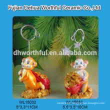 Handmade polyresin business card holder with monkey figurine