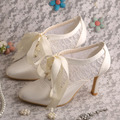 Ivoor Lace-up Trouwschoenen Bridal High Heel