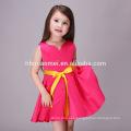 2017 Hot Sale Rose Color Sleeveless Frocks Little Girls Party Wear Western Dress Pari Dress for Baby Girl