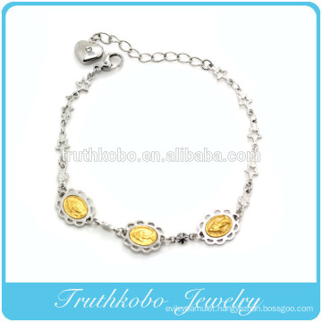 TKB-B0077 Factory Manufacture Stainless Steel Silver Floral Gold Jesus Charm Star Link Chain With Heart Lengthen Bracelet