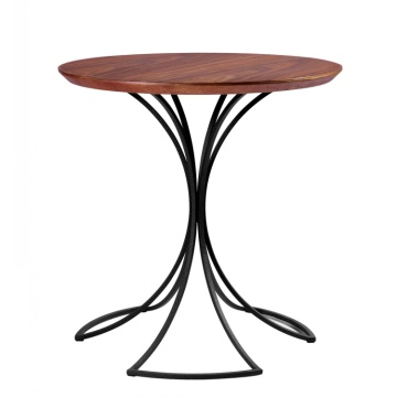 Modern Metal Leg Round Restaurant WoodTop CoffeeTea Tables