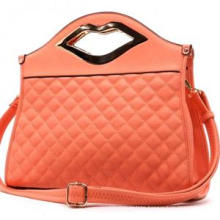 Hot Selling Lip-Handle Quilted Fashion Ladies PU Handbag (ZX20070)