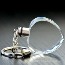 Chine Porte-clés en cristal mené blanc en forme de coeur promotionnel bon marché avec la lampe-torche