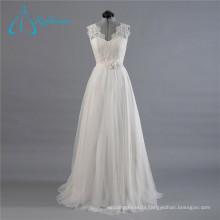 Lace Tulle A-Line V-Neck Floor-Length Sash Wedding Dress 2017 Custom Made