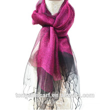 2015 newest lady's fashion cheap wholesale dreamy light weight double layers yarn dyed blended raw silk scarf swith lurex