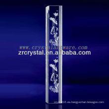 K9 3D Laser Lotus grabado al agua fuerte cristal con forma de pilar