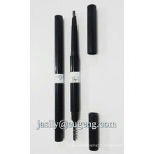 Double end eyebrow pencil packaging with brush applicator