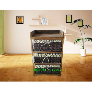 Novo mobiliário de madeira eco-friendly Wicker Cane Basket Storage cabinet