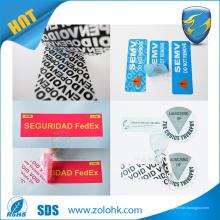 Garantía de la alta calidad VACÍO etiqueta engomada falsificación sello evidente de la etiqueta engomada de la seguridad
