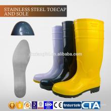 JX-AL965 CE China Toecap de aço com placa de PVC barato botas de chuva e sapatos de segurança