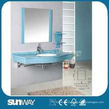 Elegant Design Modern Style Wall Mounted Mirrored Blue Bathroom Glass Vessel