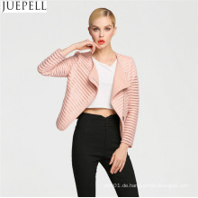 Frühlings-wilde hohle kurze Absatz-PU-Lederjacke-europäische und amerikanische Jacken-Frauen-dünne Abschnitt-Jacke Facotry-Großhandelspreis