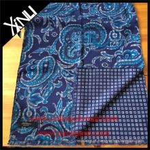 Lenço impresso reversível geométrico de Paisley para homens no lenço feito à mão verde azul