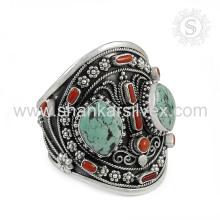 Venta al por mayor de alta calidad de la venta al por mayor precio coral turquesa brazalete 925 joyas de plata esterlina joyas hechas a mano mayorista
