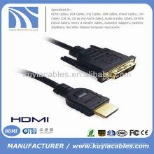 Câble HDMI à DVI 24 + 1 plaqué or en haute vitesse avec Ethernet 1080p