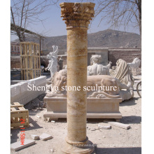 Gold Stone Sculpture Marble Column (SY-C014)