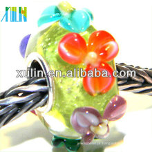 vários artesanais de contas de vidro de flor de cor grande buraco