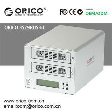 "ORICO 3529RUS3-L 2 baú Caixa externa de disco rígido SATA de 3,5 ""com LCD + USB 3.0 + eSATA + RAID 0 / RAID 1 / JBOD"