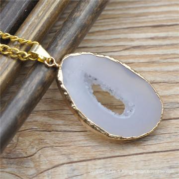Connecteurs de pierre gemme, Pierre Pendentif charm, pendentif druzy pierre naturelle