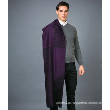 Lenço de lã de 100% para homens em cachecol de lã Jacquare de cor sólida