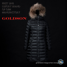 Russian Fashionable Women Long Down Jacket/Coat with Big Raccoon Fur