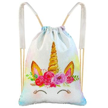 UNICORN REVERSIBLE SEQUIN DRAWSTRING BAG -0