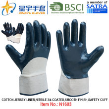 Cotton Jersey Shell Nitrile Coated Safety Work Gloves (N1603)