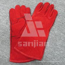 Red Split Leder Ab / Bc Grade Schweißschutzhandschuh mit CE
