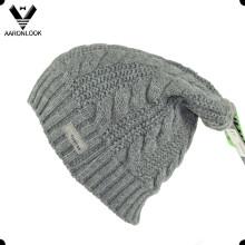 De alta calidad de acrílico de invierno de cable largo que hace punto el sombrero