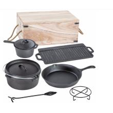 7-Piece Cast Iron Dutch Oven Cooware Set