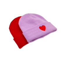 Purple special design knitted hat caps winter warm colorful hat customized OEM ODM promotion hats