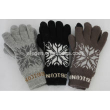 Acrylic Knitted copos de nieve guantes de doble capa