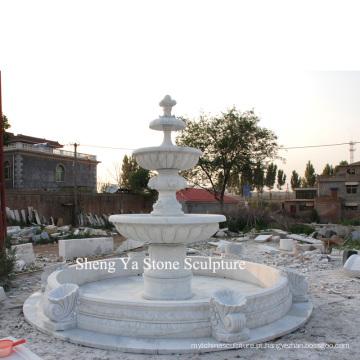 Branco carrara pedra escultura mármore fonte (sy-f001)