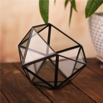 Hot selling wholesale indoor plant rose gold glass terrarium geometric