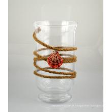 Suporte de vela de vidro com corda de juta e shell