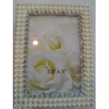 4x6inch цинка фото рамка с кристаллами и жемчугом