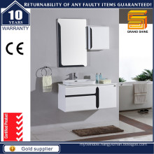 Gloss White Lacquer Bathroom Storage Cabinet with Artificial Stone Top