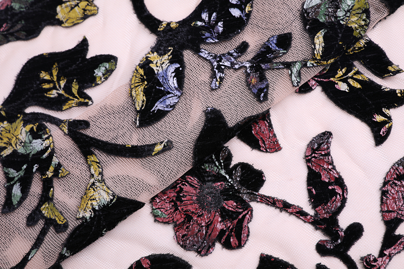 Velvet Laser Cut Embroidery Fabric