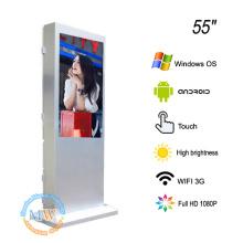 Luz solar de la pantalla táctil del piso de 55 pulgadas legible para anunciar el quiosco al aire libre