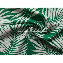 Green Bamboo Leaf Printing Fabric for Swimwear (HD1401097)