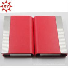 Красный кожаный держатель для визитных карточек Металлический держатель для идентификационной карты