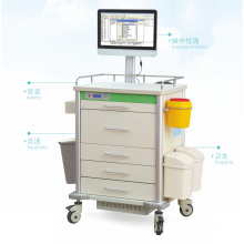 Wholesale Hospital Mobile Computer Trolley Cart with 5 Drawers