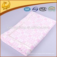 Wide Pink Jacquard Super Soft Warm Solid Color Tamanho Longo 100% Algodão Blanket Material para Bbay