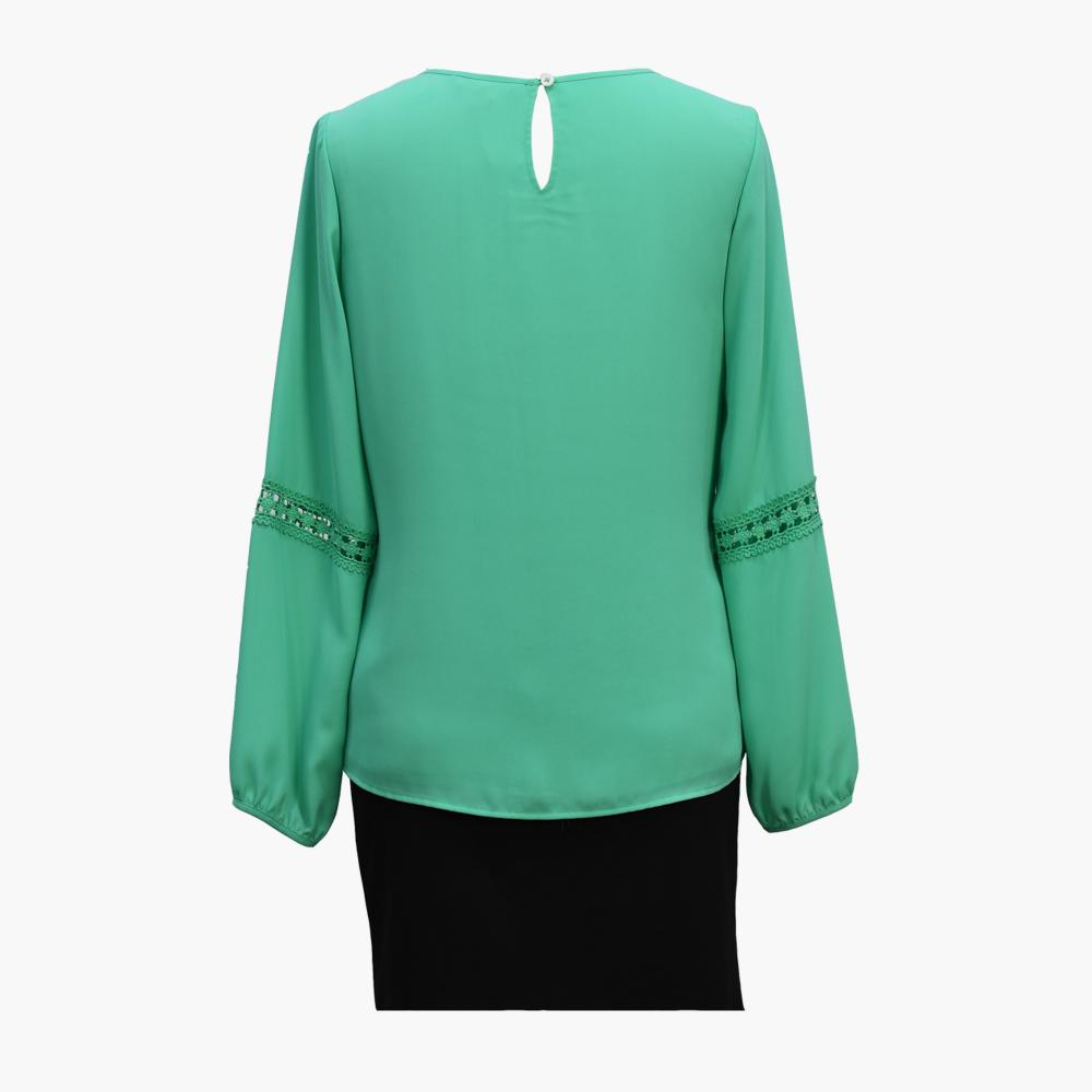 Green GGT Ladies Pleated O-Neck TOPs