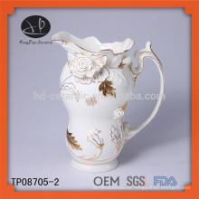 Neues Produkt Keramik geprägt Gold Spitze Teekanne und Wasserkocher Set Teekanne