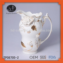 New product ceramic embossed gold lace tea pot and kettle set teapot