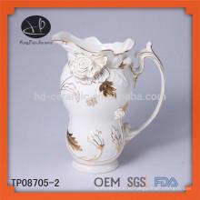 Новый продукт керамический тиснением золотой кружевной чай горшок и чайник чайник