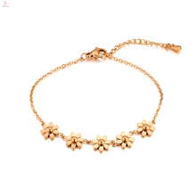 Bracelet de fleur en acier inoxydable 18K Rose Gold Heronsbill